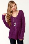 Premium Cable Oversized Purple Sweater