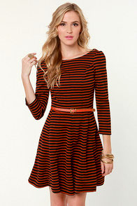 You Autumn Know Orange and Black Striped Dress