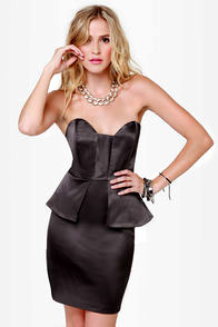 Satin-um Record Strapless Charcoal Grey Dress