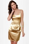 Shimmer and Shake Gold Peplum Dress