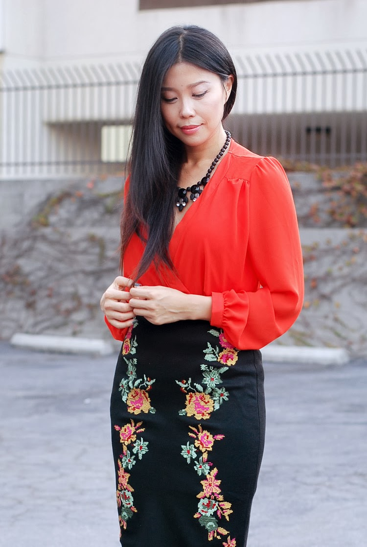 lulus orange floral skirt (1 of 1)