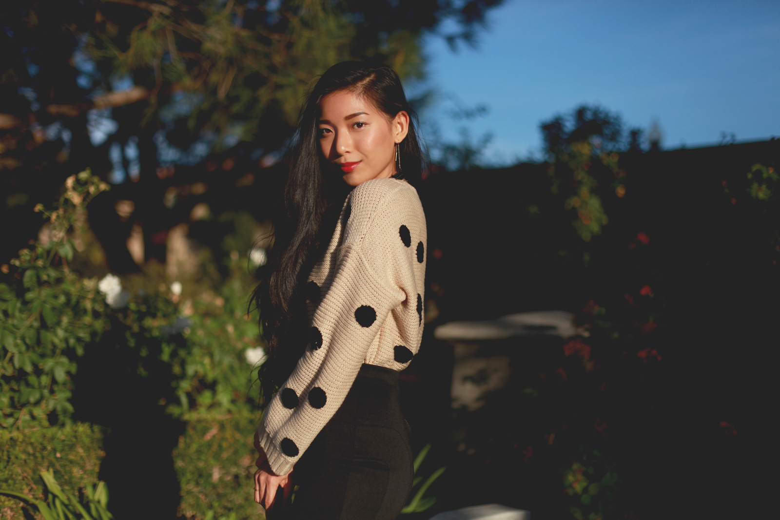 Stephanie Liu of Honey and Silk wearing Lulus for Holiday 6