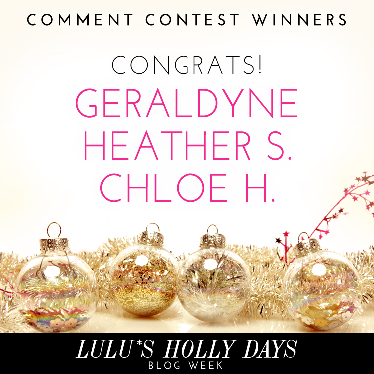 LuLus Holly Days Blog Week Comment ContestWinners