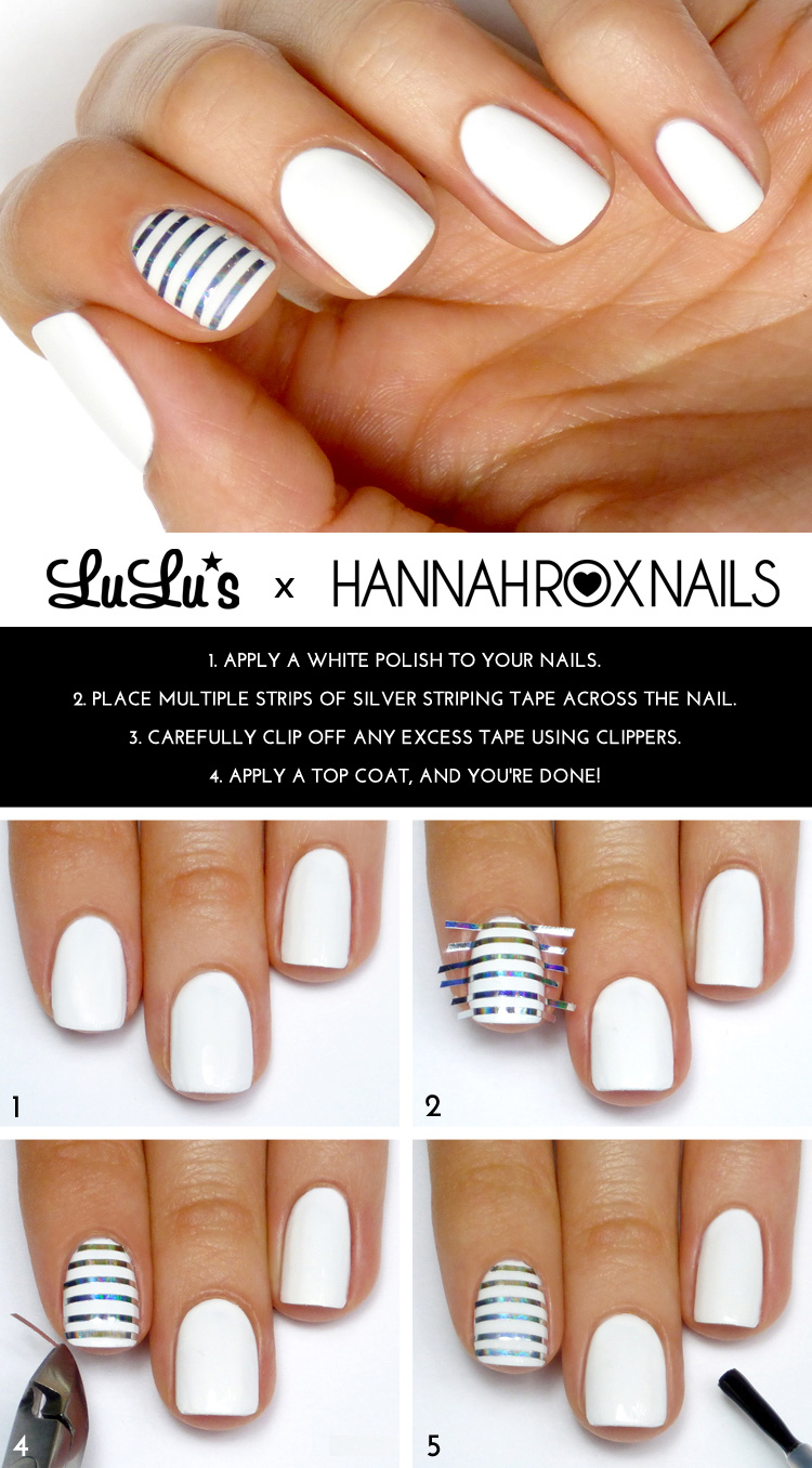 Mani monday white and silver striped accent nail mani - Cool nail designs you can do at home ...
