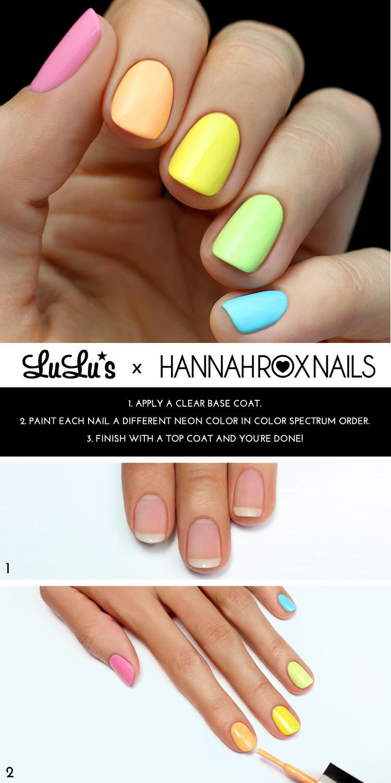 neon rainbow nail