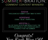 Summer-bration Comment Contest Winners!