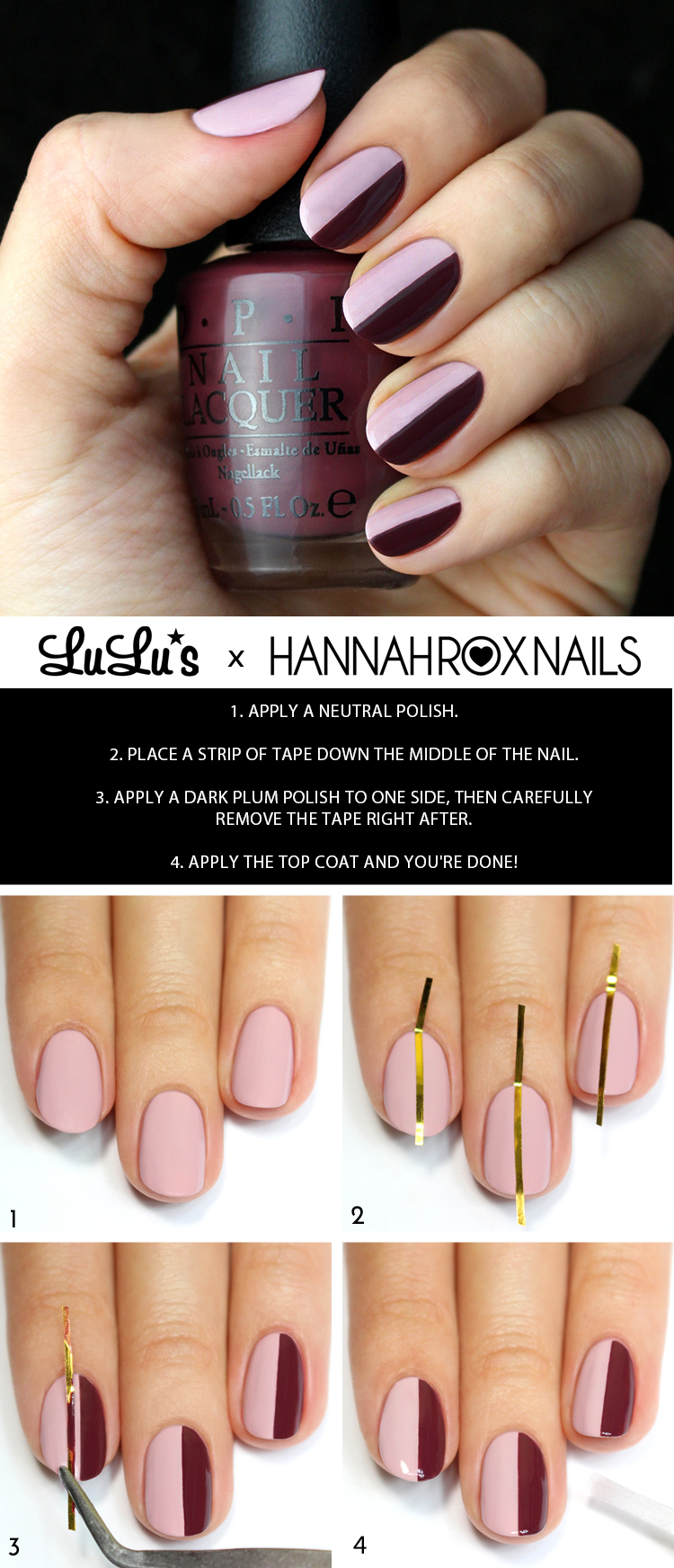 blush and burgundy striped nail