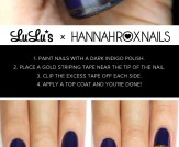 Mani Monday: Indigo Blue and Gold Striped Nail Tut…
