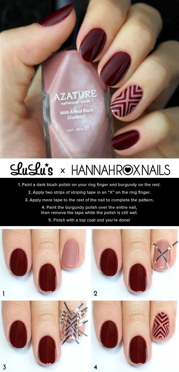 Burgundy and Dark Blush Nail