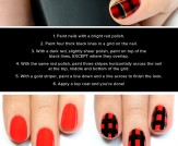 Mani Monday: Black and Red Plaid Print Nail Tutori…