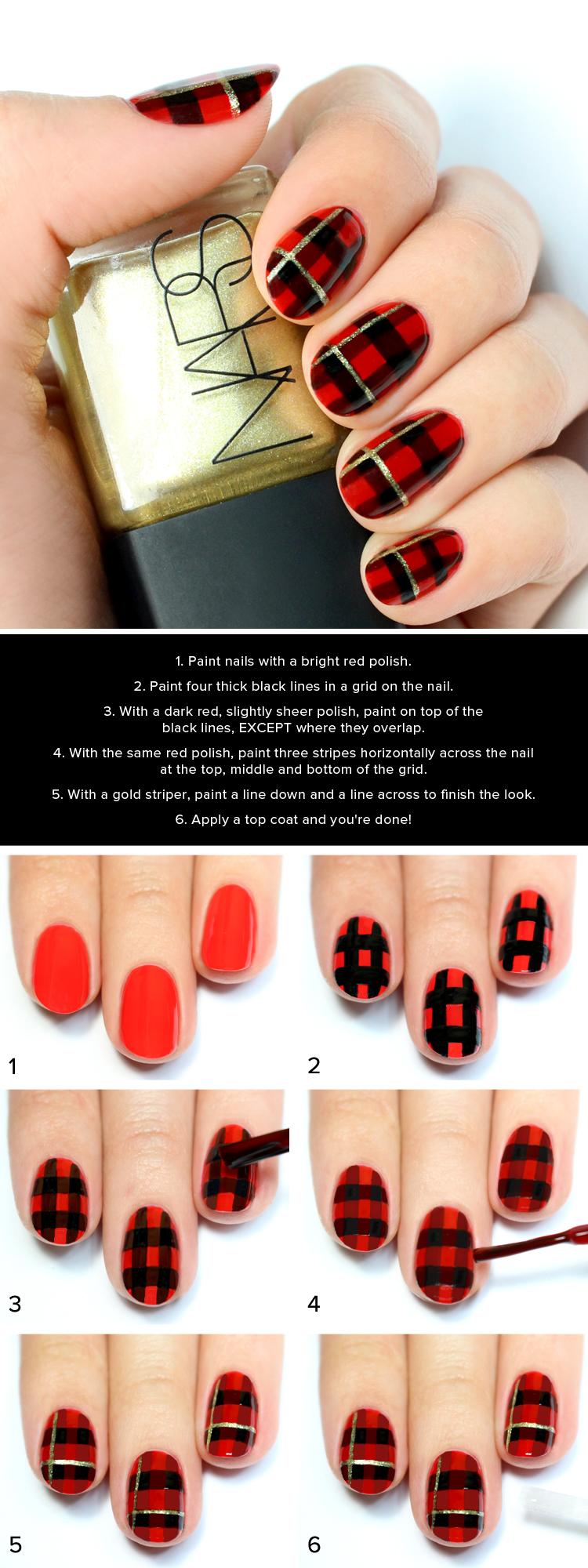 Red plaid print nail