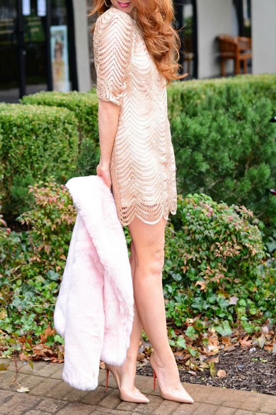 We love the Under the Affluence Beige Sequin Dress on Tara of Jimmy Choos and Tennis Shoes