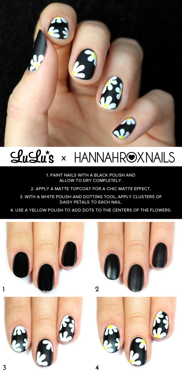 black daisy nail