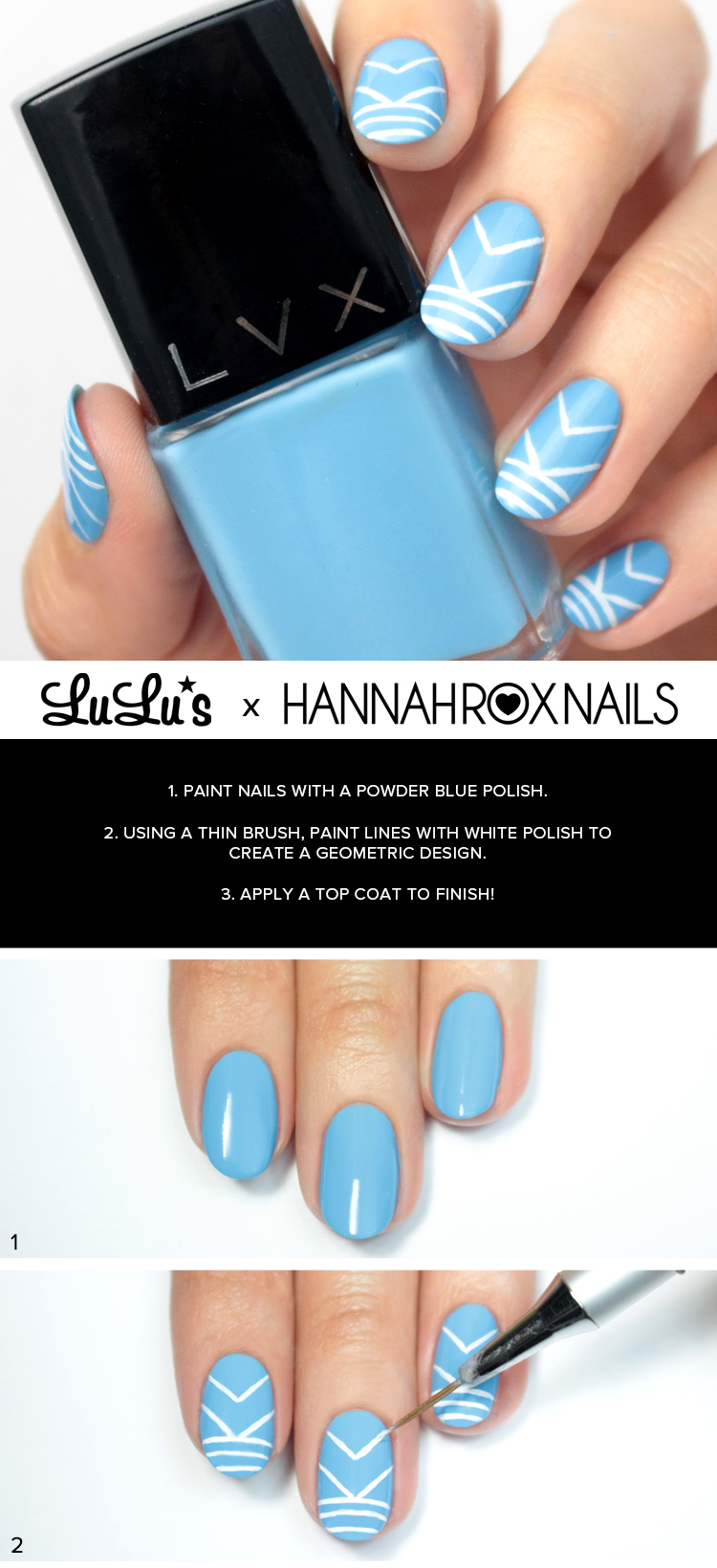 blue geometric nails