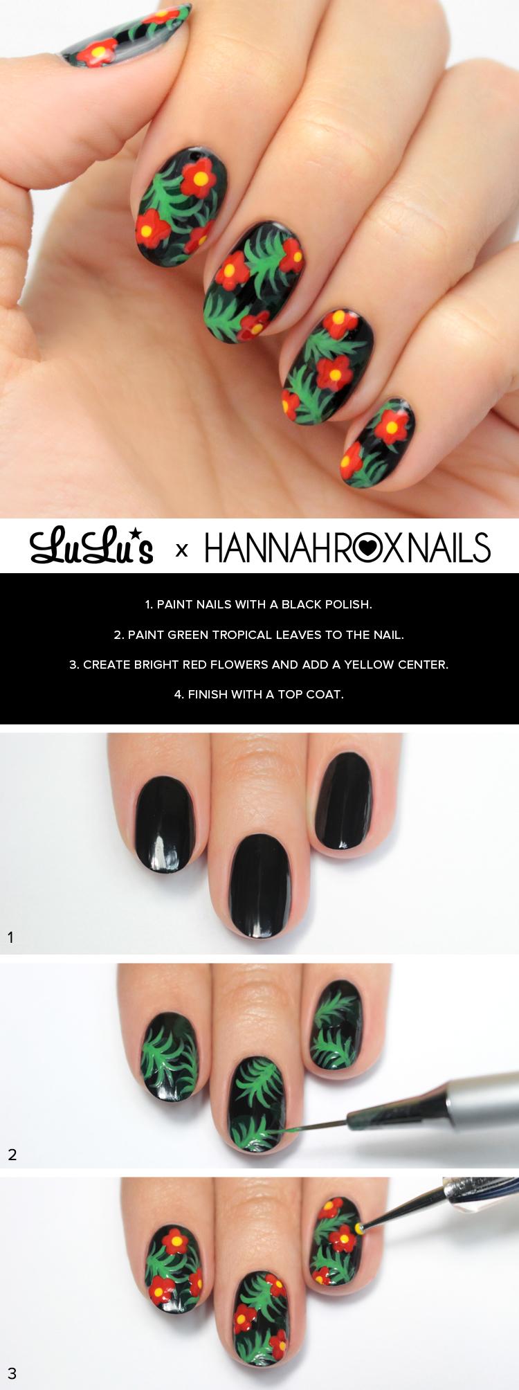 tropical print nail