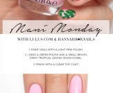 Mani Monday: Pink and Green Tropical Nail Tutorial