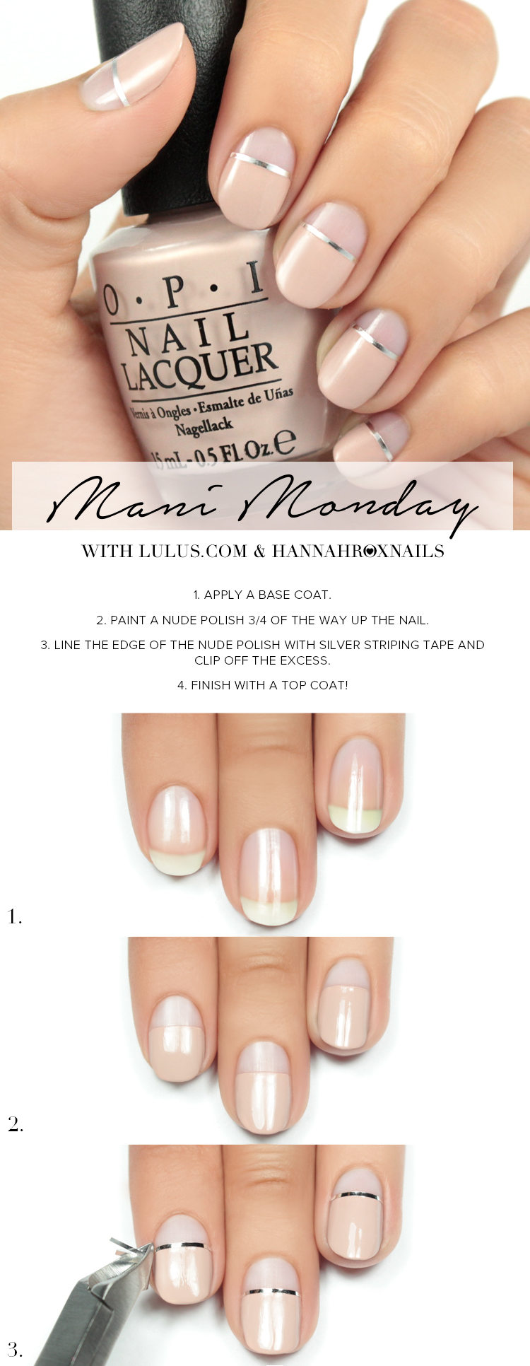Nude and Silver Stripe Nail Tutorial