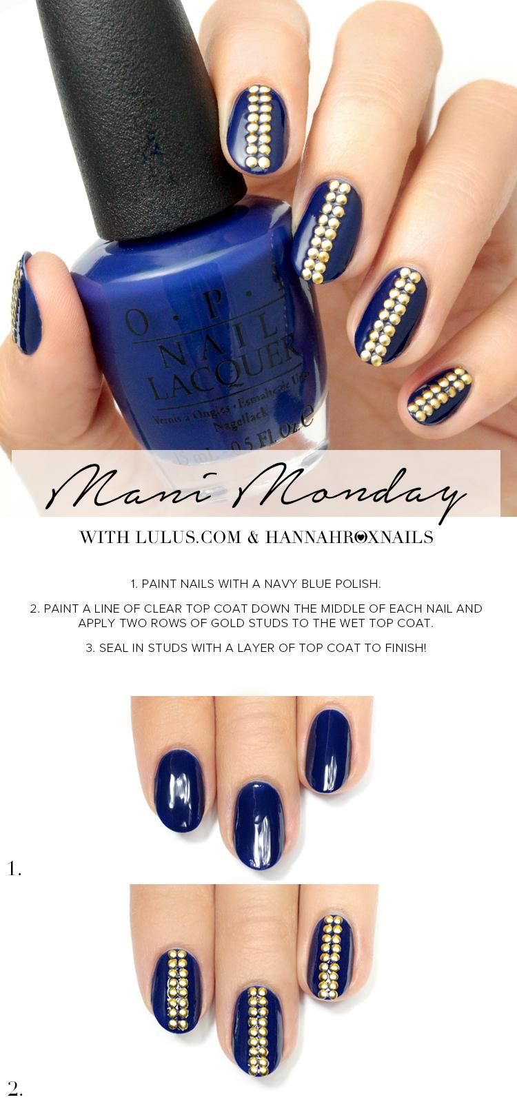 Navy Blue Studded Nail