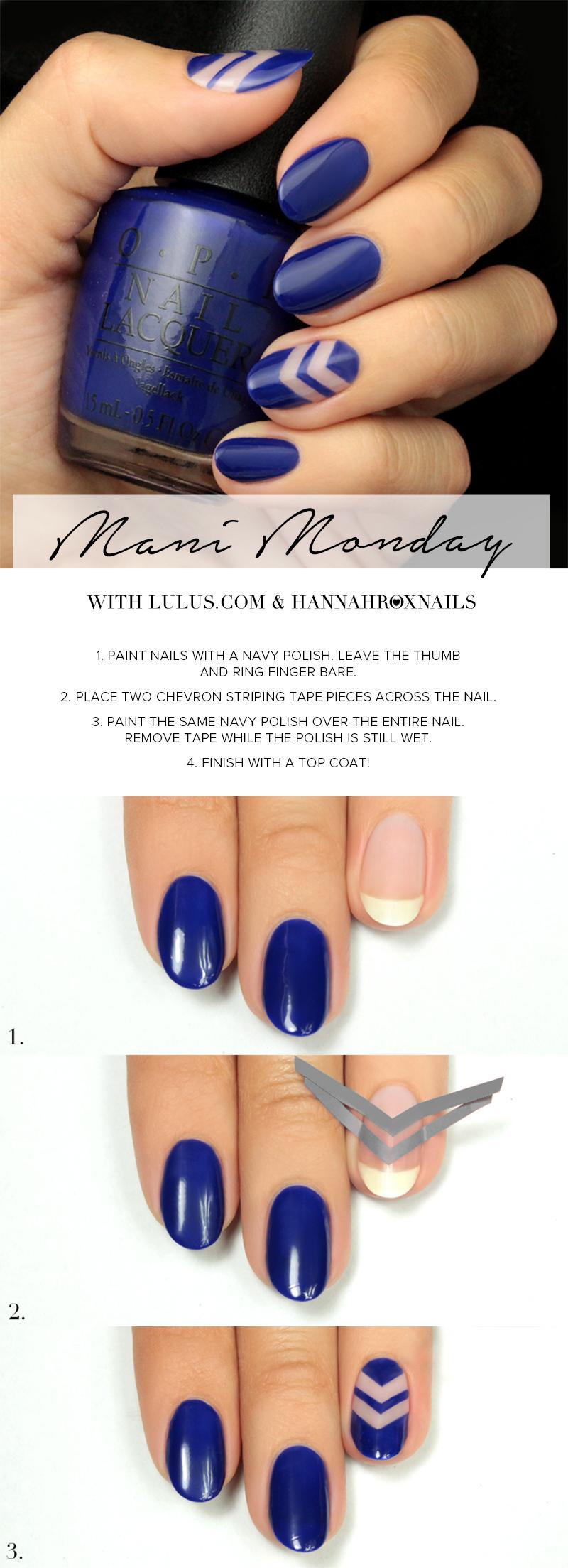 navy blue negative space nail