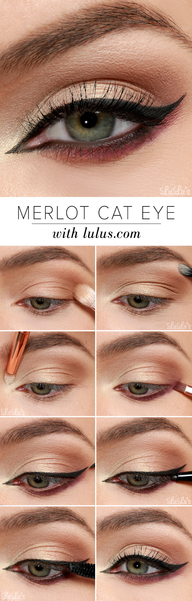 Lulus How-To: Merlot Cat Eye Makeup Tutorial - Lulus.com Fashion Blog