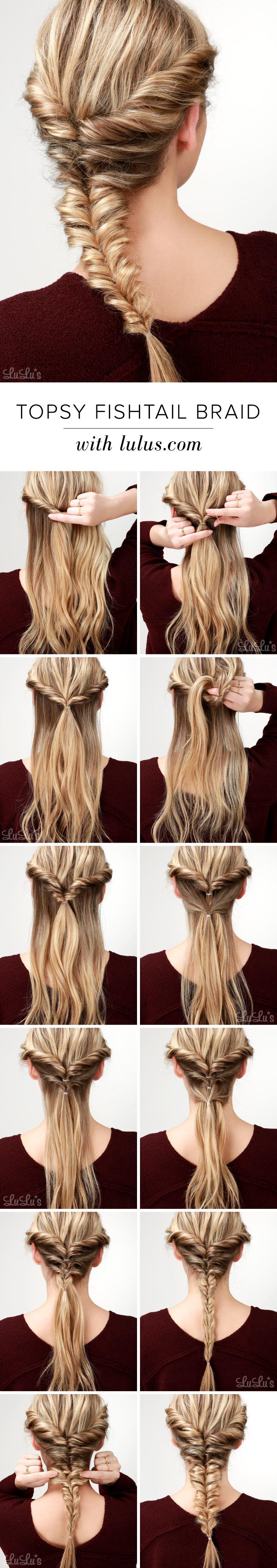 Lulus How To Topsy Fishtail Braid Tutorial   Lulus.com Fashion Blog