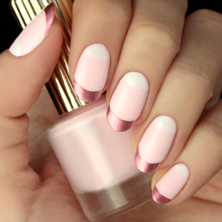 Mani Monday Rose Gold And Pink Valentine S Day Nail Tutorial Lulus Com Fashion Blog