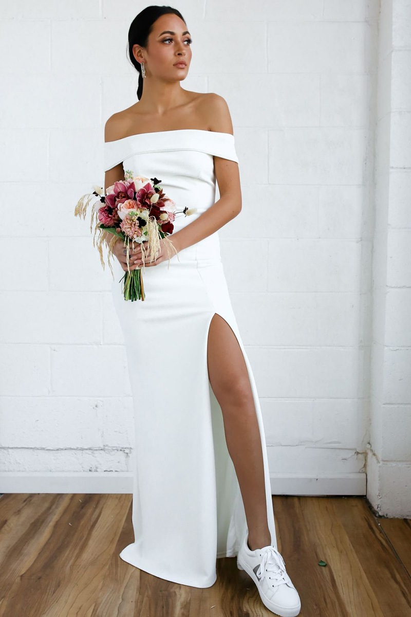 9b3539d22c9c7 affordable wedding dress - wedding dress with sneakers - bridal sneakers