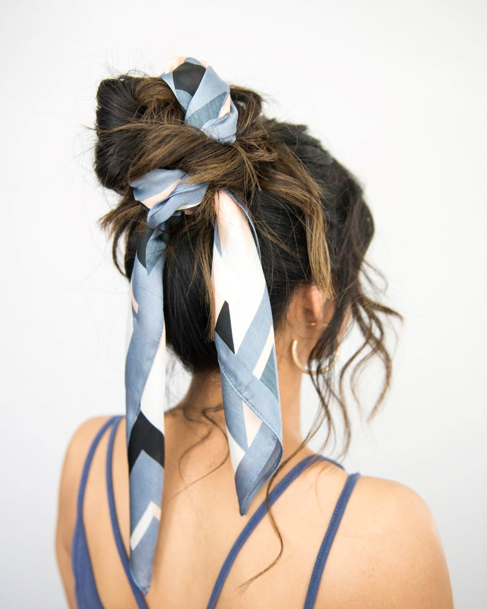 How To Tie A Scarf In Your Hair With A Messy Bun Lulus Com
