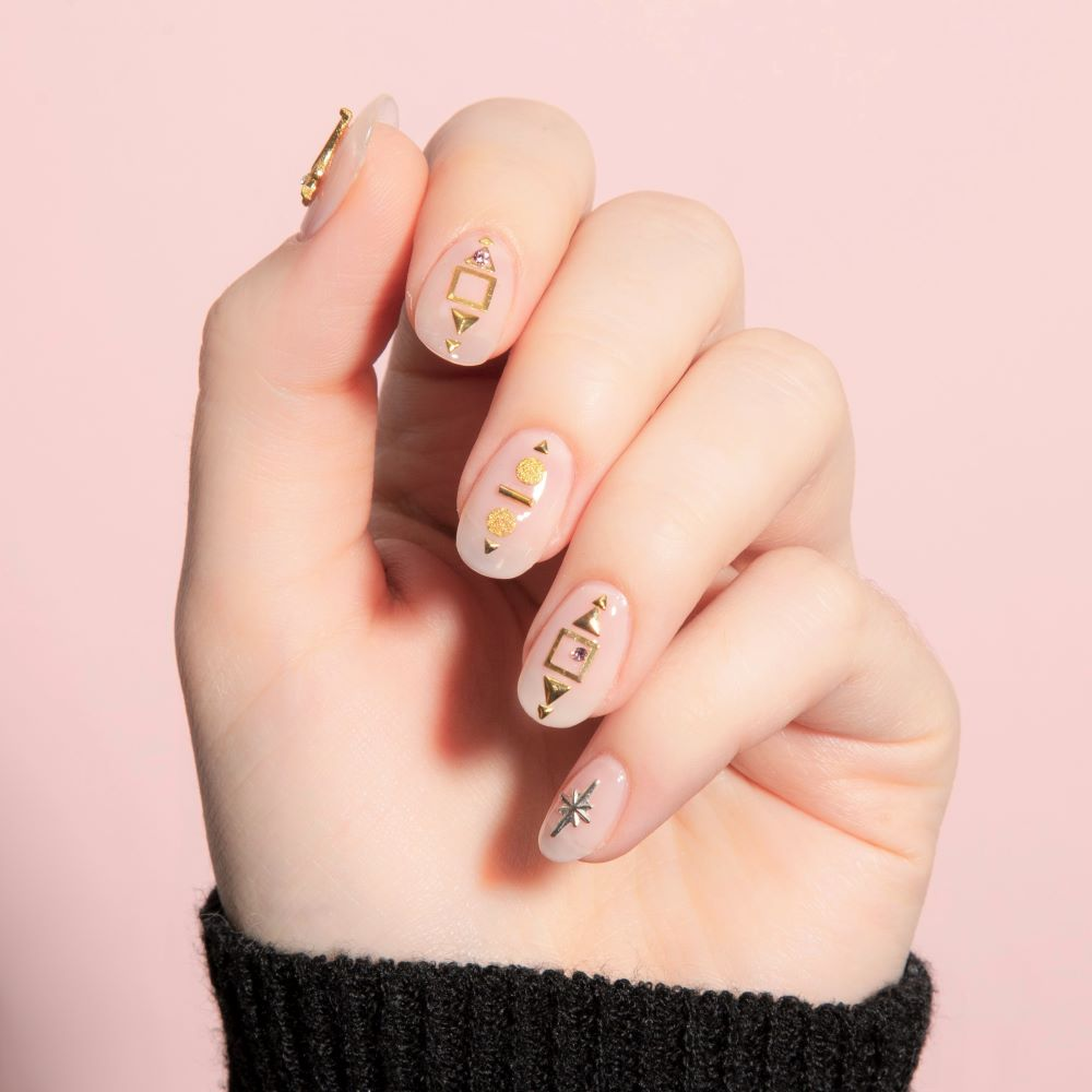 Simple Nails with Gold Embellishments