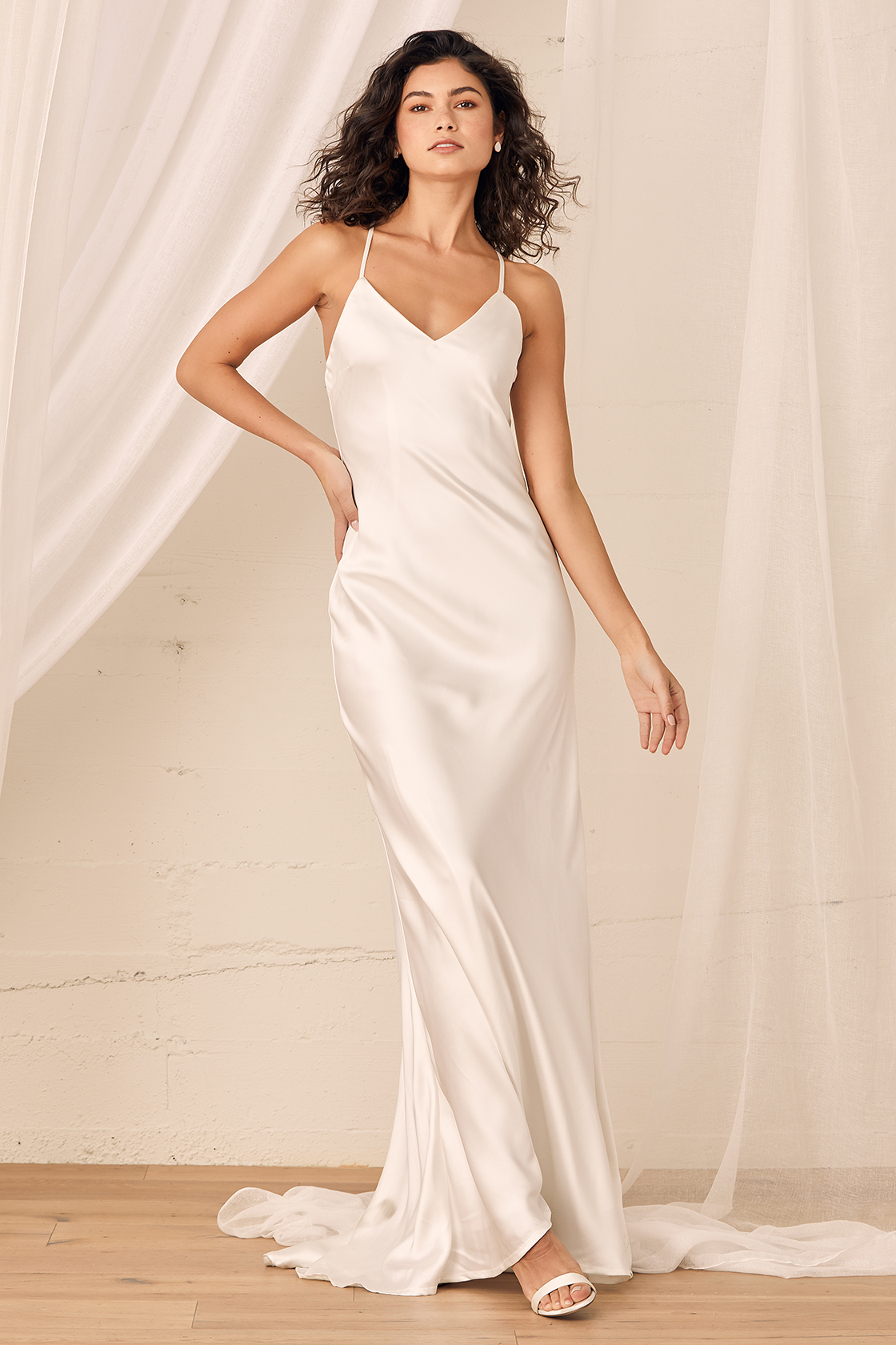 satin maxi slip dress for minimalist bride