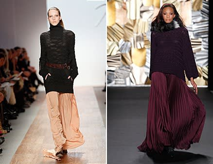 Trend Alert Chunky Sweaters with Maxi Skirts