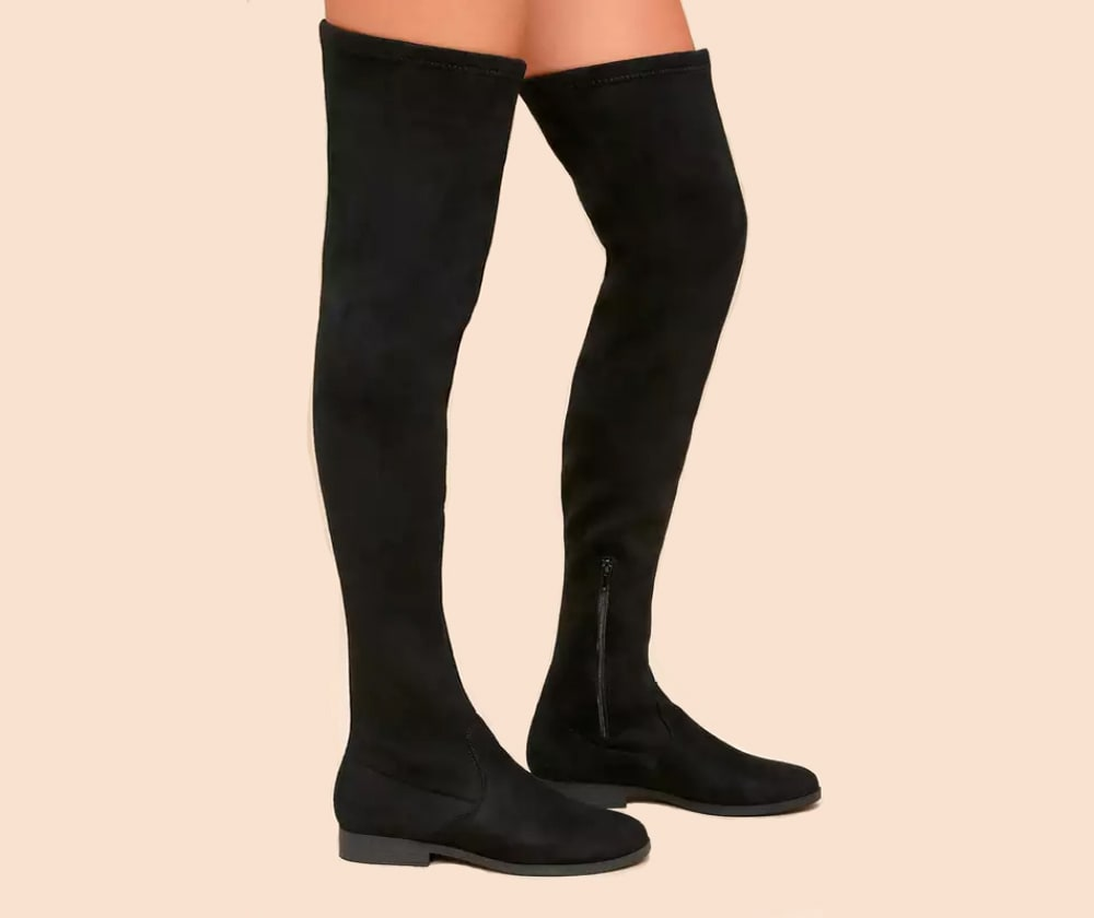 Racy Black Suede Over the Knee Boots