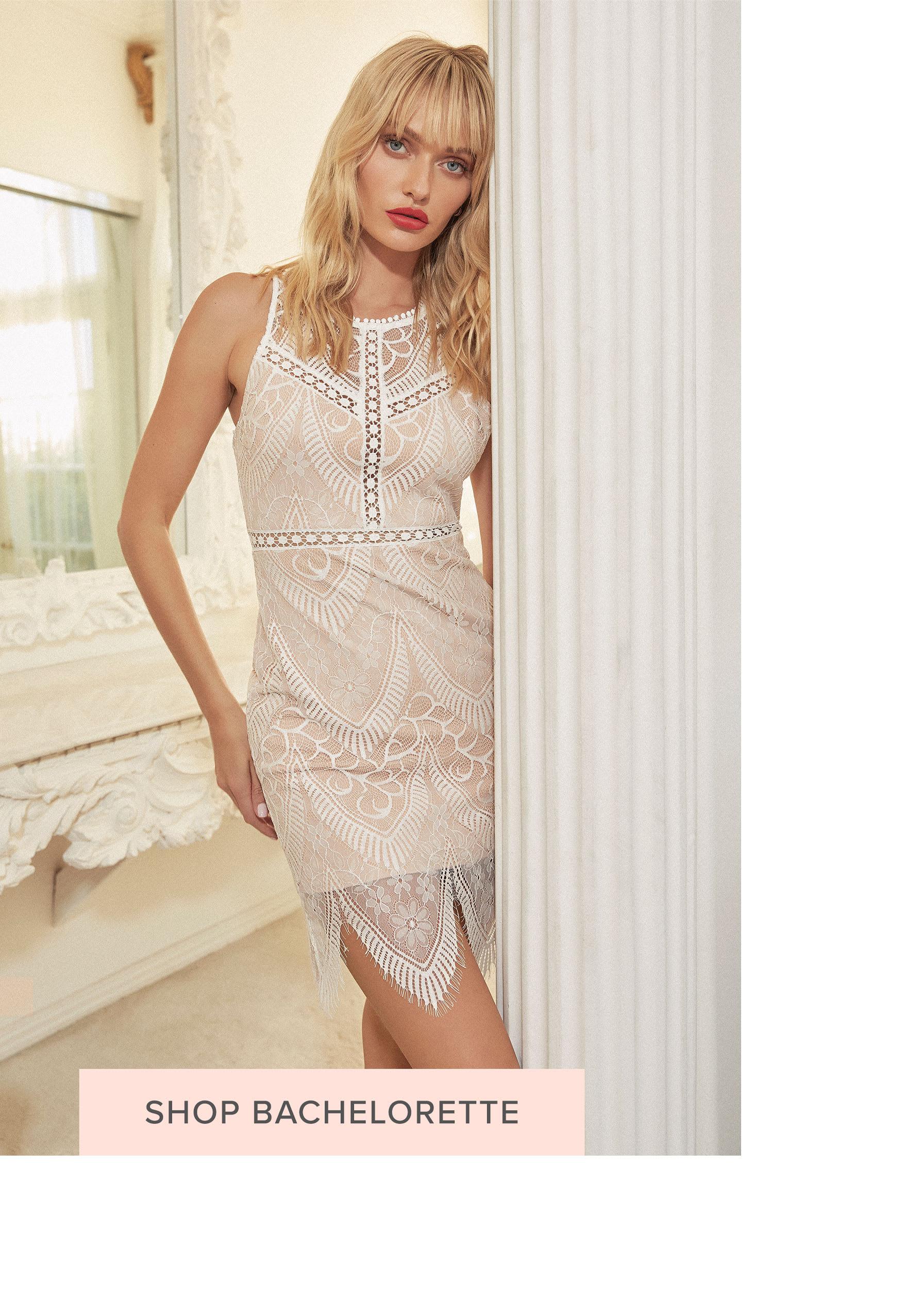 7abf5019fe women in satin and lacey lingerie set Shop Bridal Shower Dresses bride in  short white lace bachelorette party dress
