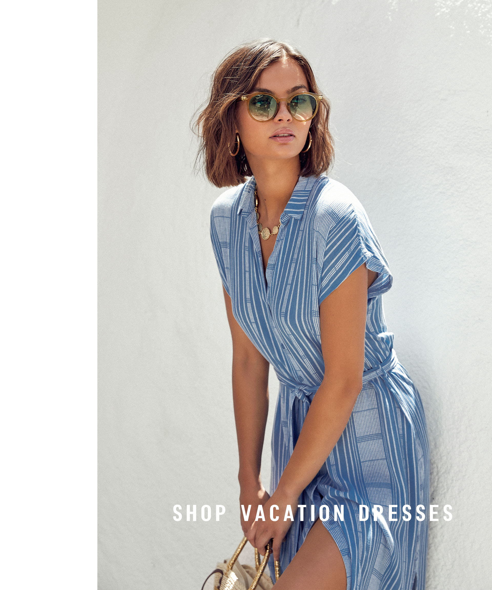 5d956ca89ee model in blue striped button up vacation dress ...