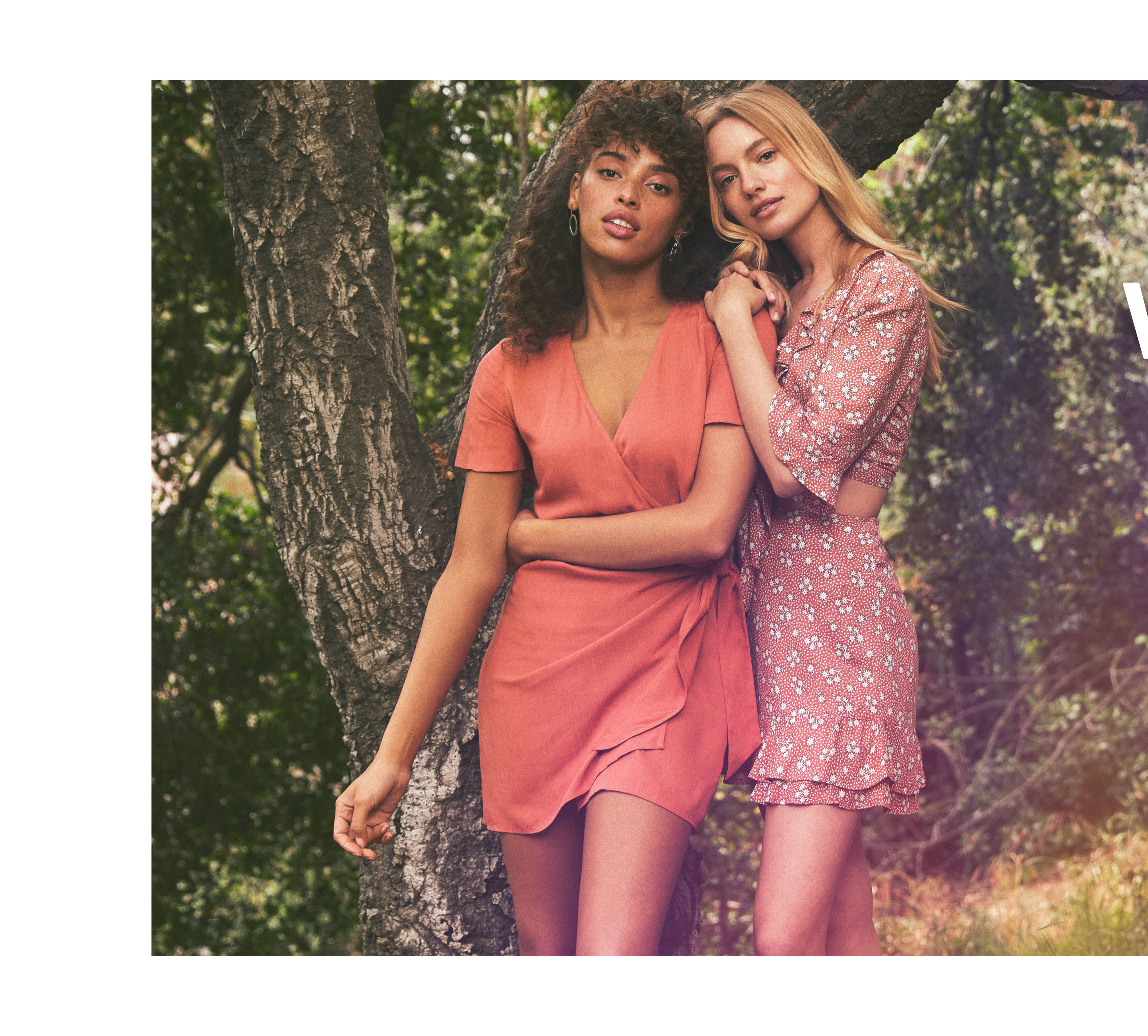 ec21102c92b2 models in short rose wrap dress and ditsy floral two piece set for vacation  ...