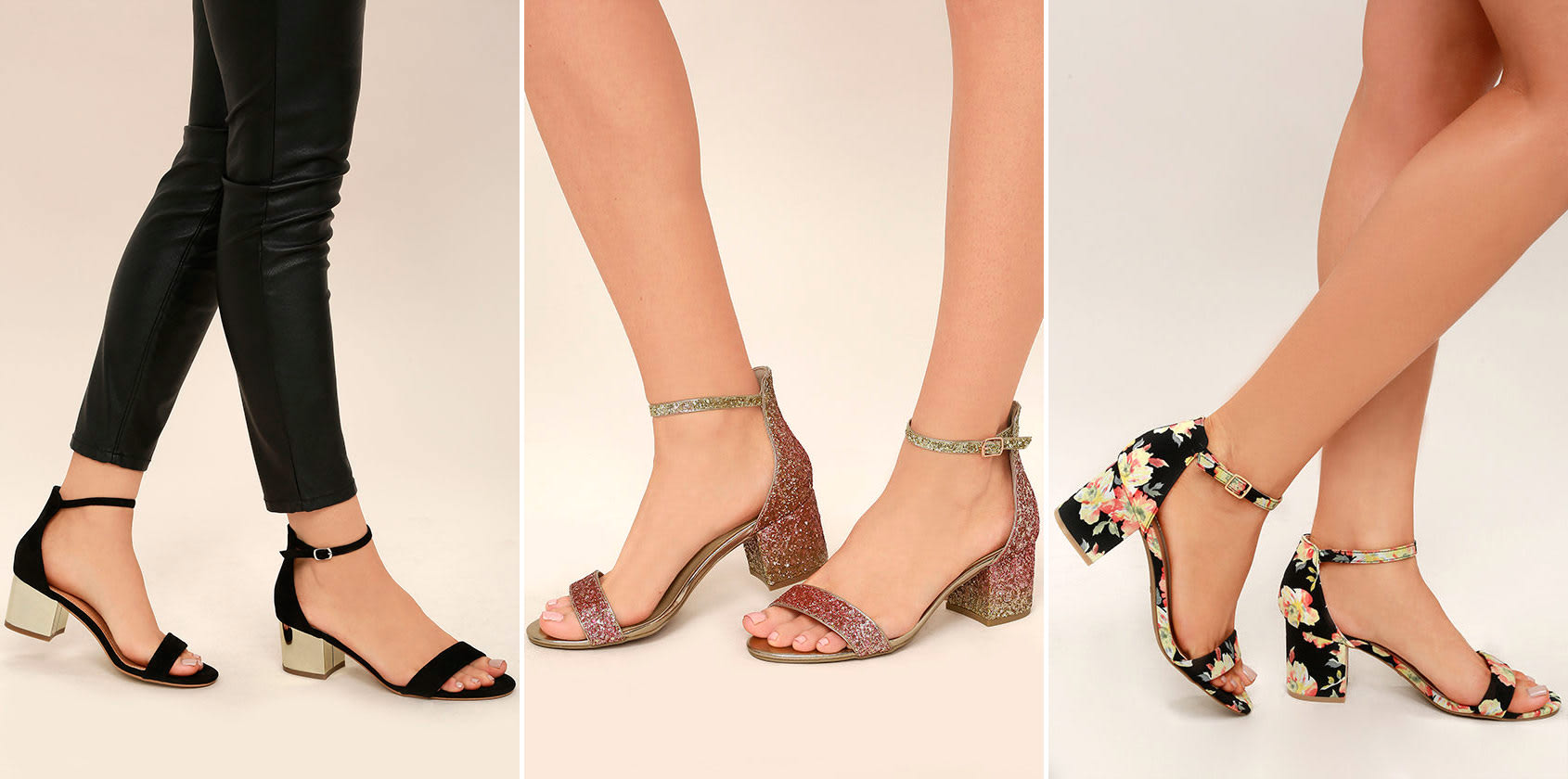 prom shoe styles - low block heel