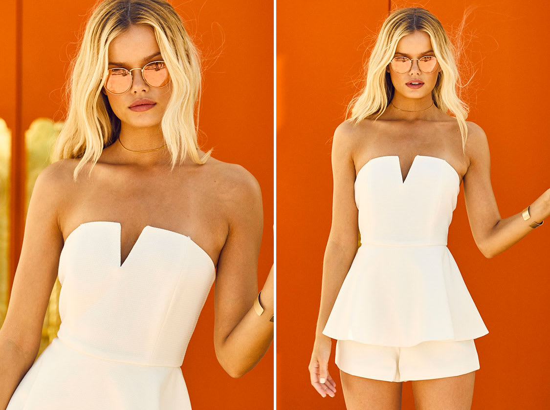 WHERE YOU ARE WHITE STRAPLESS ROMPER