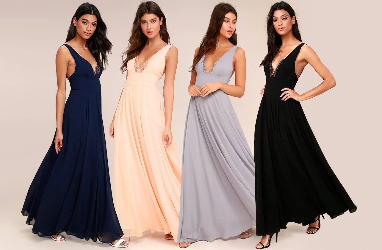 True Bliss Maxi Dress in Navy Blue, Black, Peach, and Grey