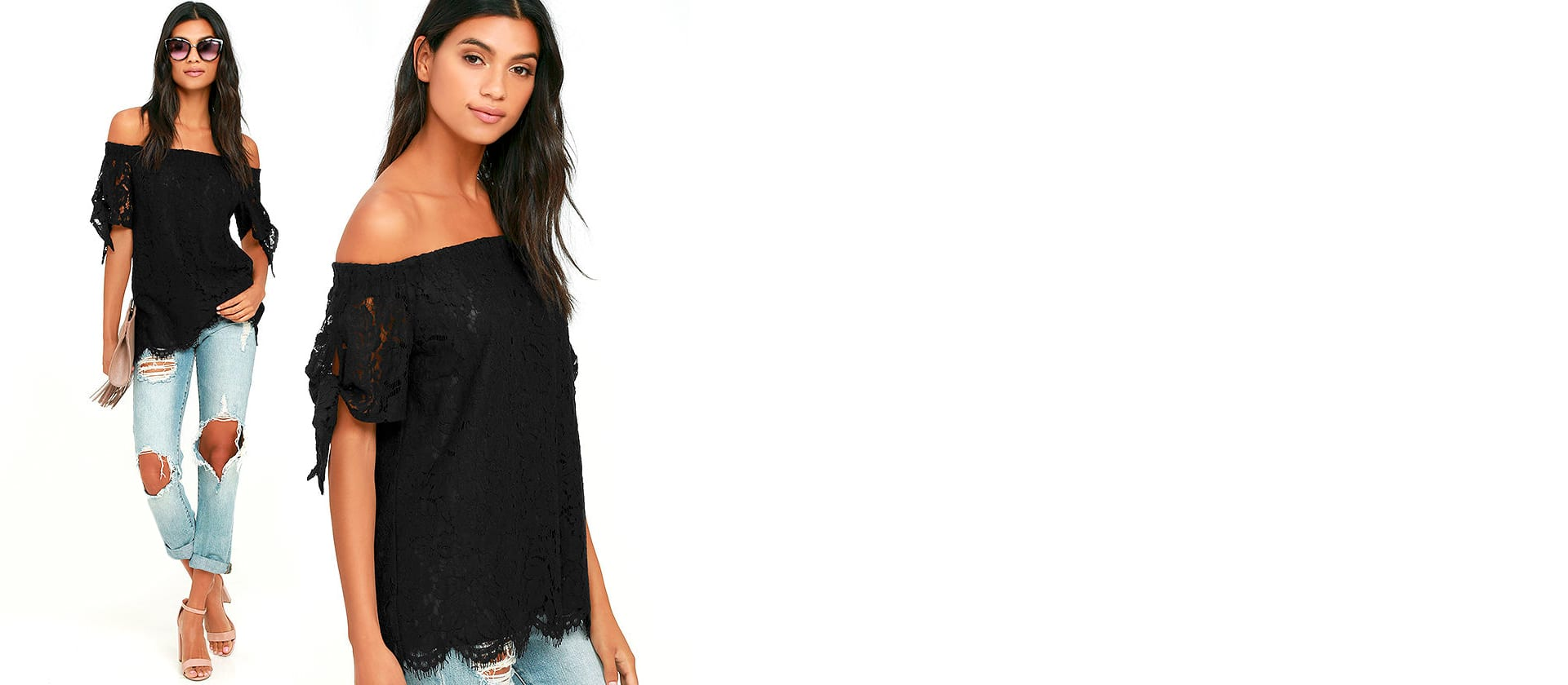 Ethereal View Black Lace Off the Shoulder Top