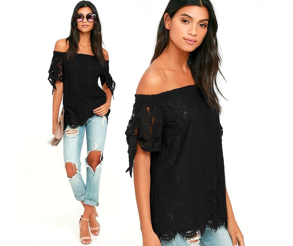 Ethereal Lace Off the Shoulder Top in Black and White