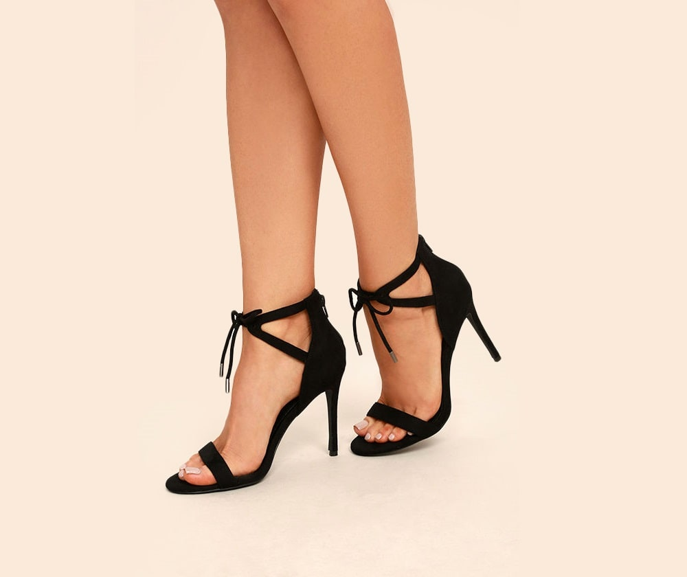 Kate Suede Ankle Strap Heels in Black and Taupe