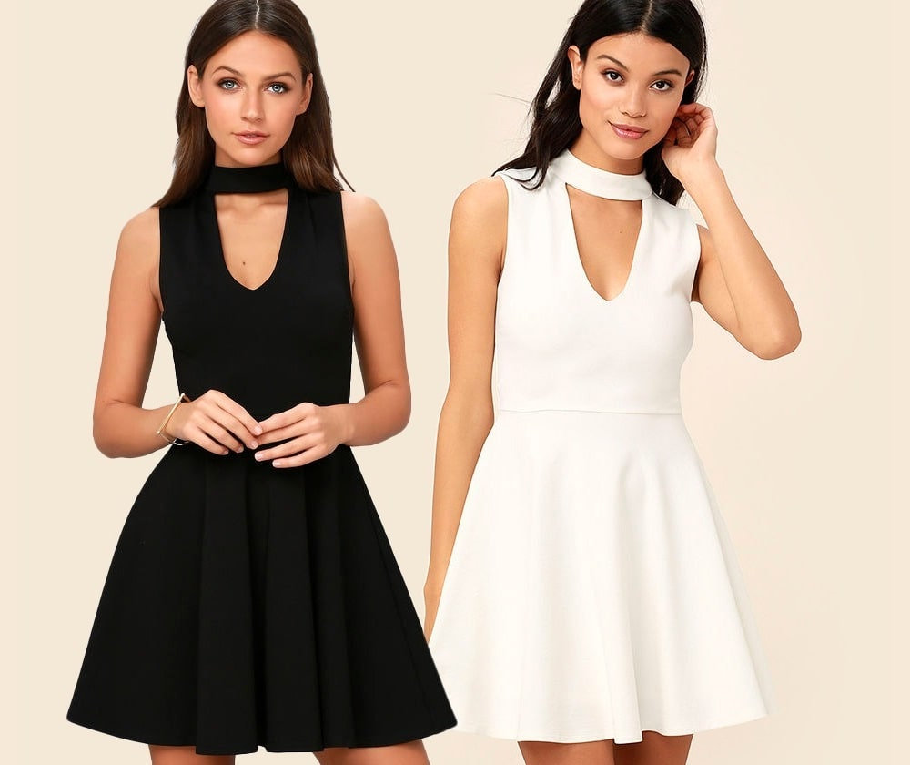 Loving You is Easy Skater Dress in Black and White