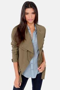 A Taste For Trends Olive Green Jacket  at Lulus.com!