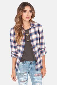 Obey Deja Vu Blue Flannel Button-Up Top at Lulus.com!
