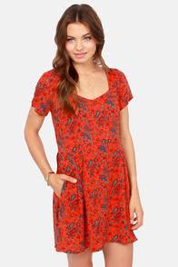 Obey Sweet Jane Red Orange Print Dress at Lulus.com!