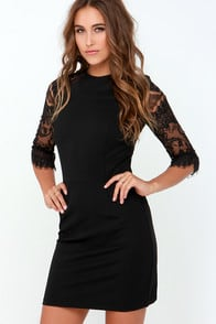 BB Dakota Princeton Black Lace Dress at Lulus.com!