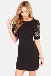 Sleeve an Impression Beaded Black Dress at Lulus.com!