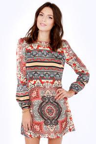 Never Zen Better Red Print Shift Dress at Lulus.com!