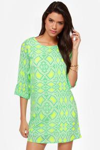 Put It in Print Mint Green Shift Dress at Lulus.com!
