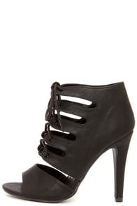 My Delicious Scanda Black Lace-Up High Heel Bootie at Lulus.com!